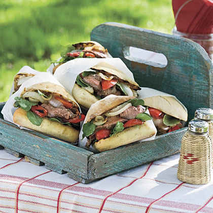 "Flank Steak Sandwiches with ""Go Big Blue®"" Cheese"
