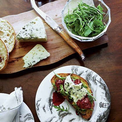 Honey-Rosemary Cherries and Blue Cheese Crostini