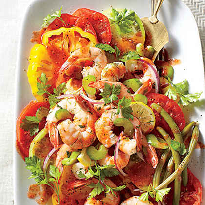 Bloody Mary Tomato Salad with Quick Pickled Shrimp