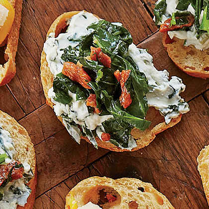 Ham-and-Greens Crostini