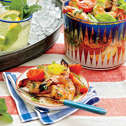 Tomato Salad with Grilled Shrimp