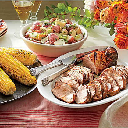 Grilled Pork Tenderloins with Corn on the Cob