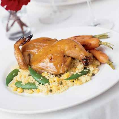 Maple Mustard-glazed Hens with Couscous