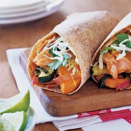 Salmon Burritos with Roasted Vegetables
