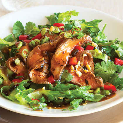 Hot Flank Steak Salad with Chinese Black Bean Dressing