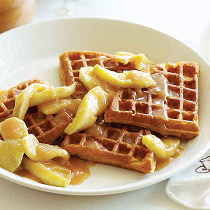 Buttermilk Pumpkin Waffles with Apples