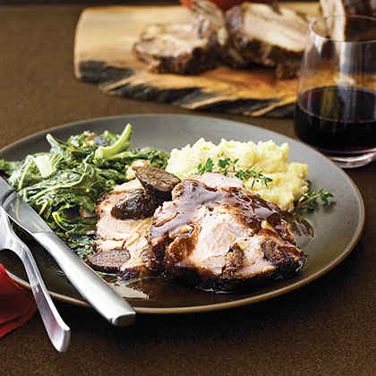 Pork Shoulder Roast with Figs, Garlic, and Pinot Noir