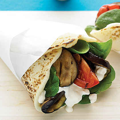 Grilled Eggplant Naan Wraps with Tahini Yogurt Dressing