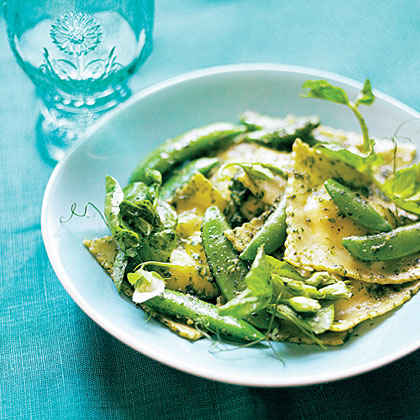 Ravioli with Snap Peas, Pea Shoots, and Minty Pea Shoot Pesto