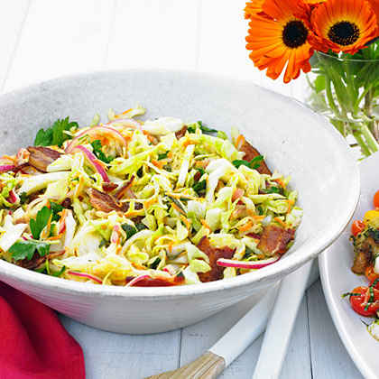 Warm Bacon and Herb Coleslaw