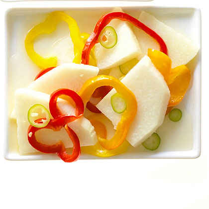 Pickled Jicama, Ginger, and Summer Peppers