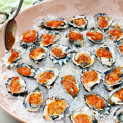 Oysters on the Half-Shell with Grilled Garden Salsa