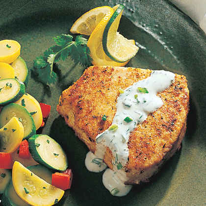 Swordfish with Cilantro-Lime Cream