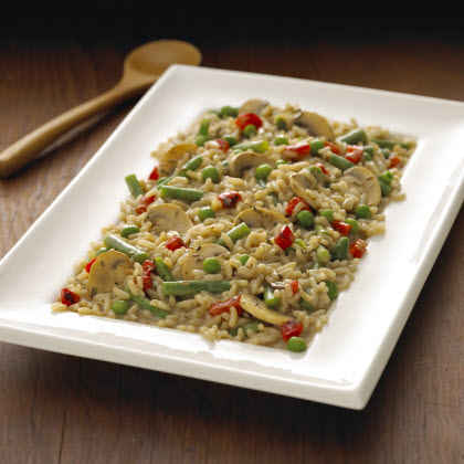 Mushroom Risotto with Roasted Red Peppers & Peas