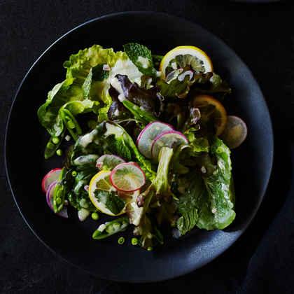 Lettuce Snap Pea Salad with Meyer Lemon Cream