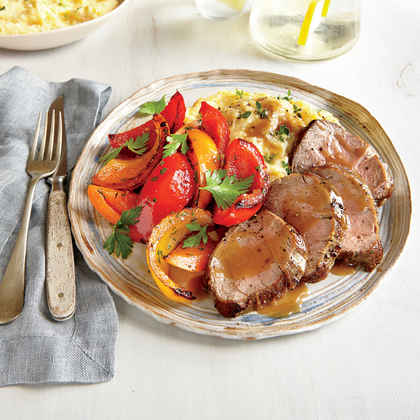 Pan-Roasted Pork Tenderloin and Peppers