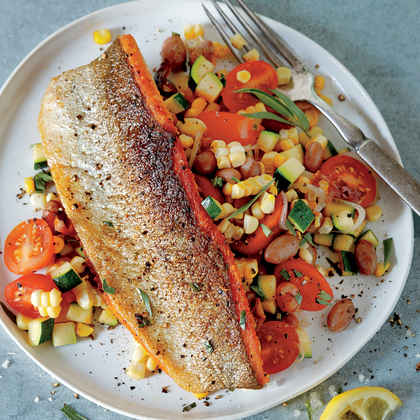 warm custard spoon bread panfried trout with warm corn bread salad