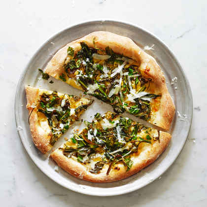 Pizza Bianca with Dandelion Greens