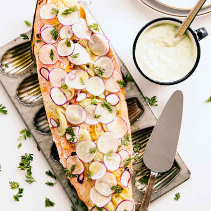 Poached Orange-Fennel Salmon with Dill Crème