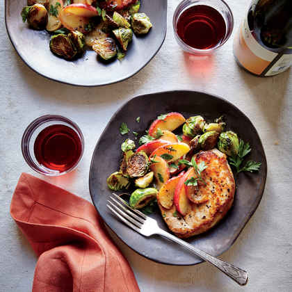 Pork Chops with Sautéed Apples and Brussels Sprouts