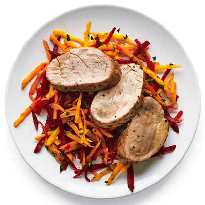 Pork Tenderloin with Crunchy Beet Slaw