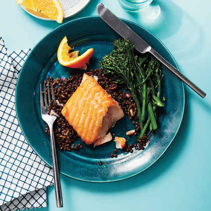 Seared Salmon with Orange-Lentil Salad