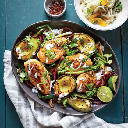 Skillet Chicken with Seared Avocados