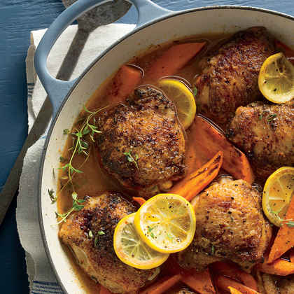 Braised Chicken Thighs with Carrots and Lemons