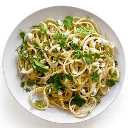 Spring Herb and Goat Cheese Linguine