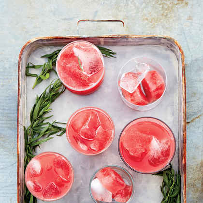 Strawberry and Watermelon Punch with Lime and Tarragon