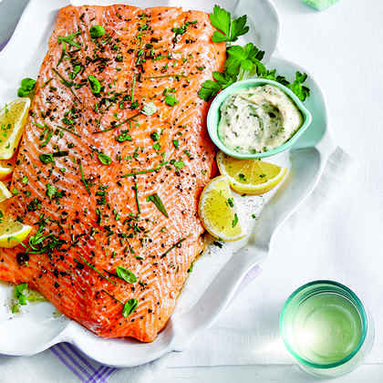 Whole Salmon Fillet with Cornichon-Caper Sauce