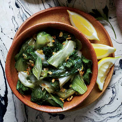 Wilted Escarole with Lemon and Garlic