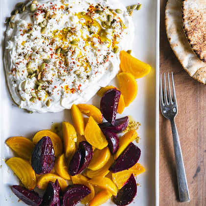 Yogurt Cheese with Roasted Beets and Feta