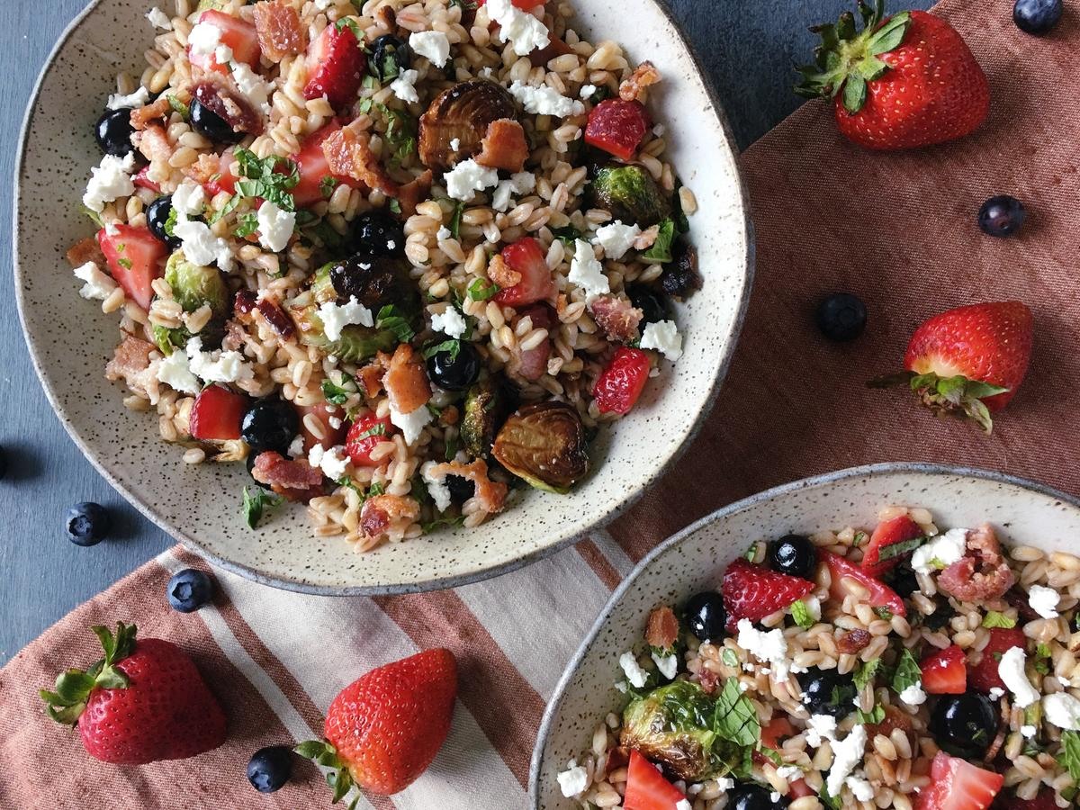 Farro Salad with Brussels Sprouts, Bacon, and Berries