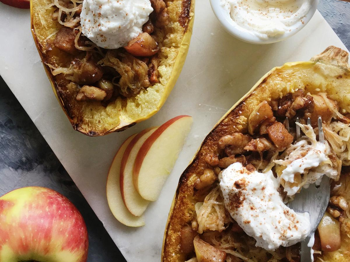 <p>Dessert Spaghetti Squash with Apples, Walnuts, and Cinnamon Goat Cheese</p>
