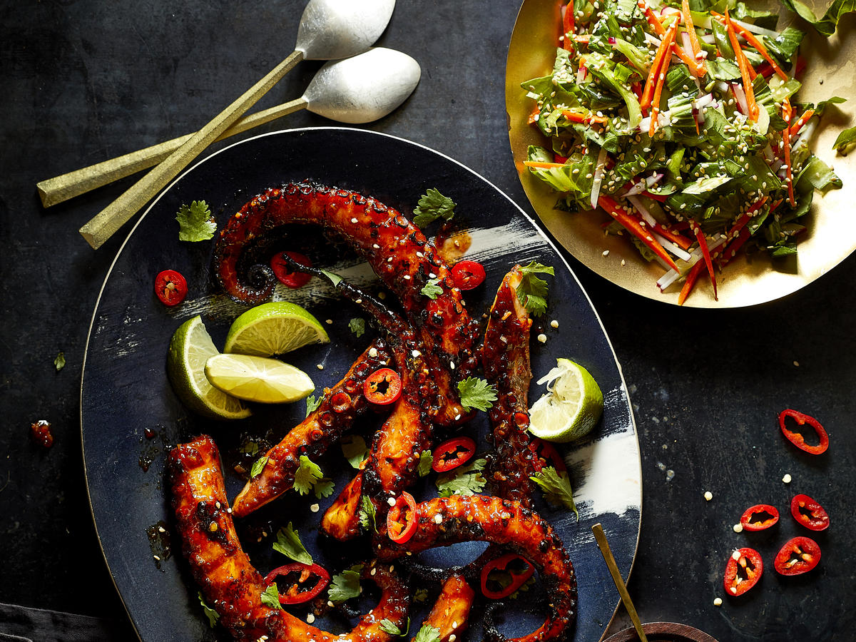 Grilled Octopus with Korean Barbecue Sauce and Baby Bok Choy Slaw