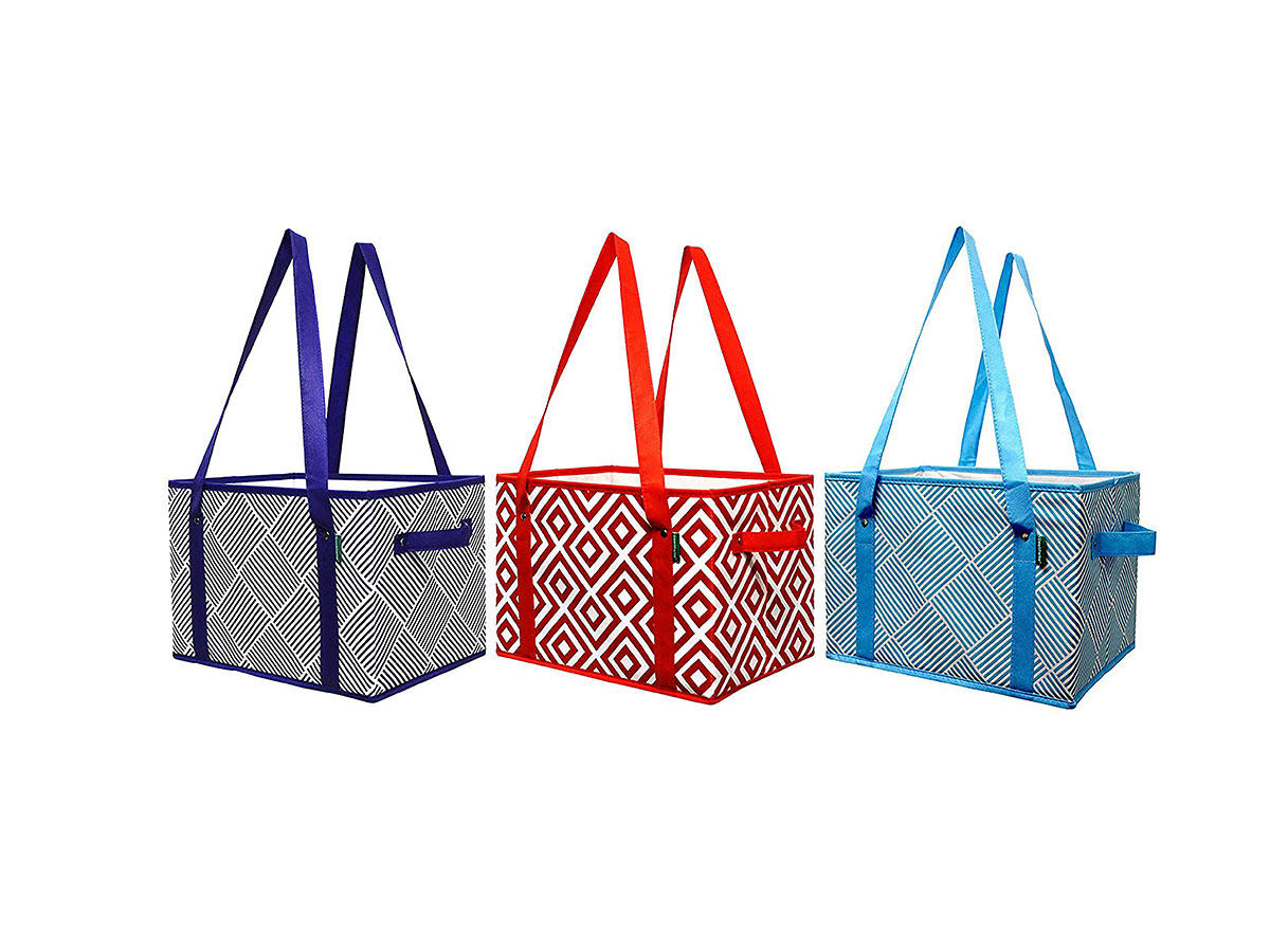 13cec48876d Earthwise s Deluxe Collapsible Reusable Shopping Box Grocery Bag Set