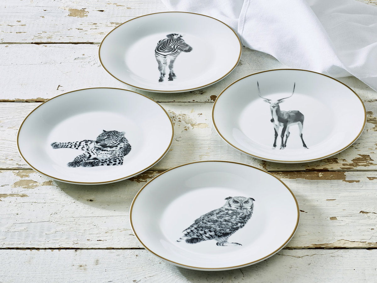 7.5  Wild Animal Collection Porcelain Side Plate 4-Pack