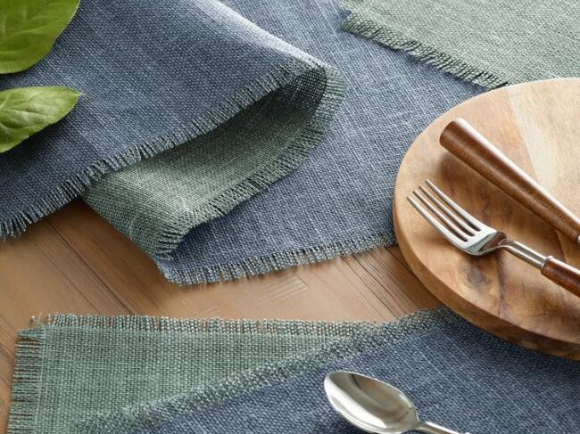 Blue and Aqua Jute Reversible Placemats, Set of 4