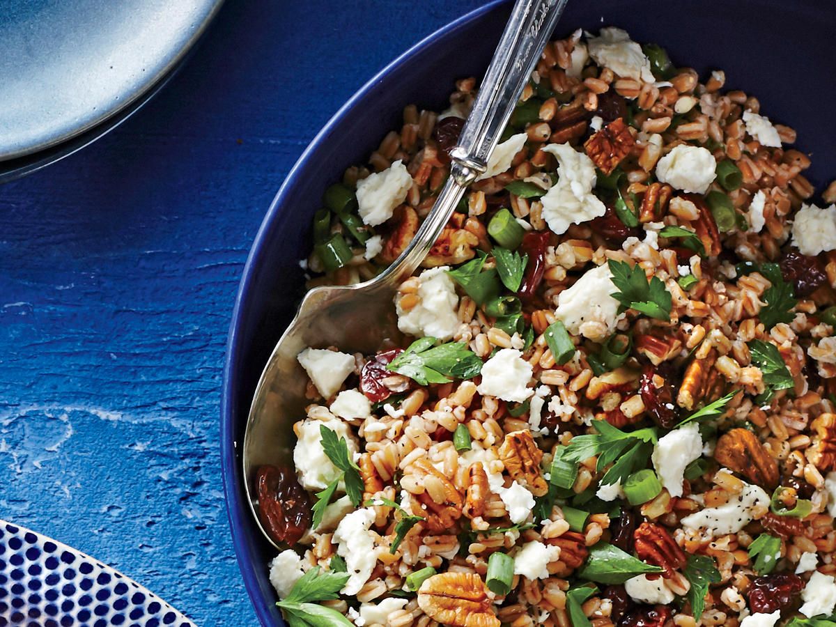 sl-Farro Salad with Toasted Pecans, Feta, and Dried Cherries Image