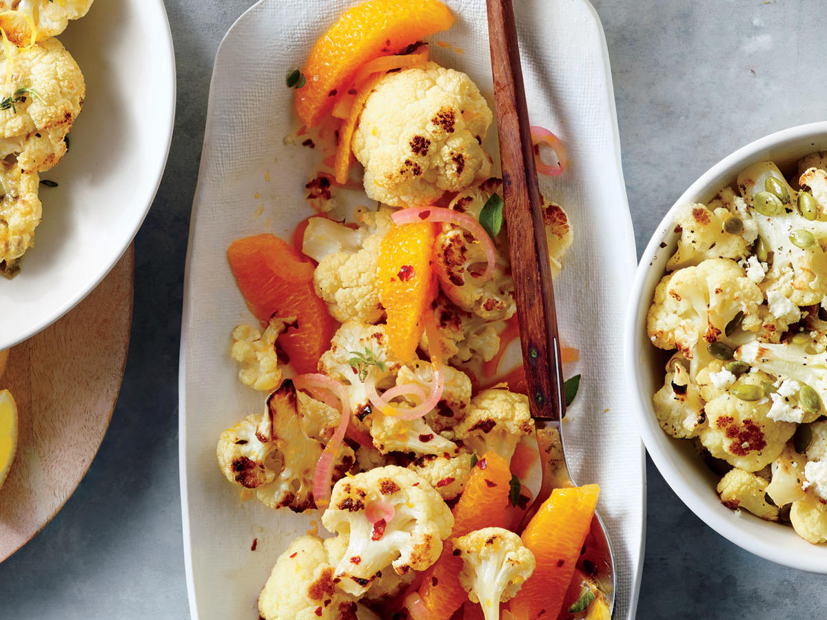 Roasted Cauliflower with Red onions and Oranges image