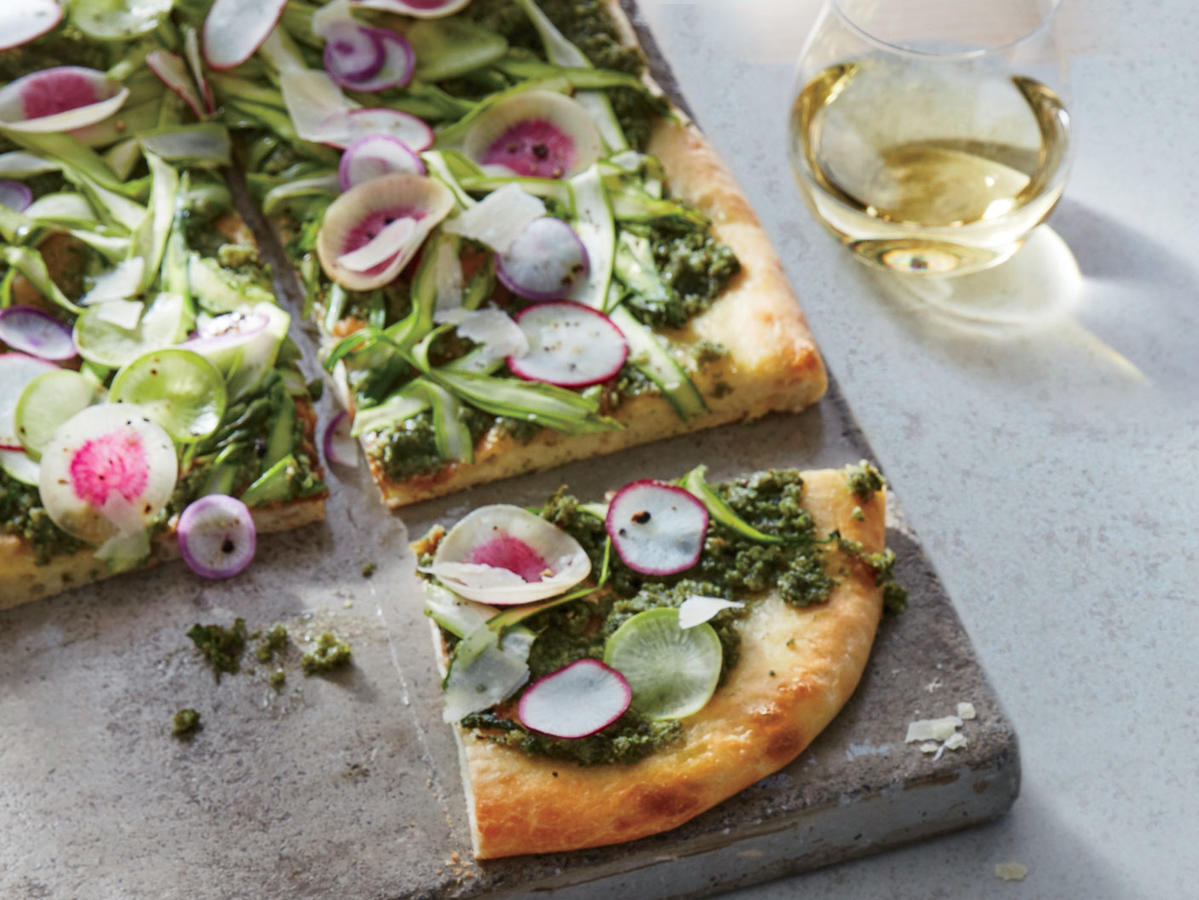 Flatbread with Kelp-Walnut Pesto and Asparagus