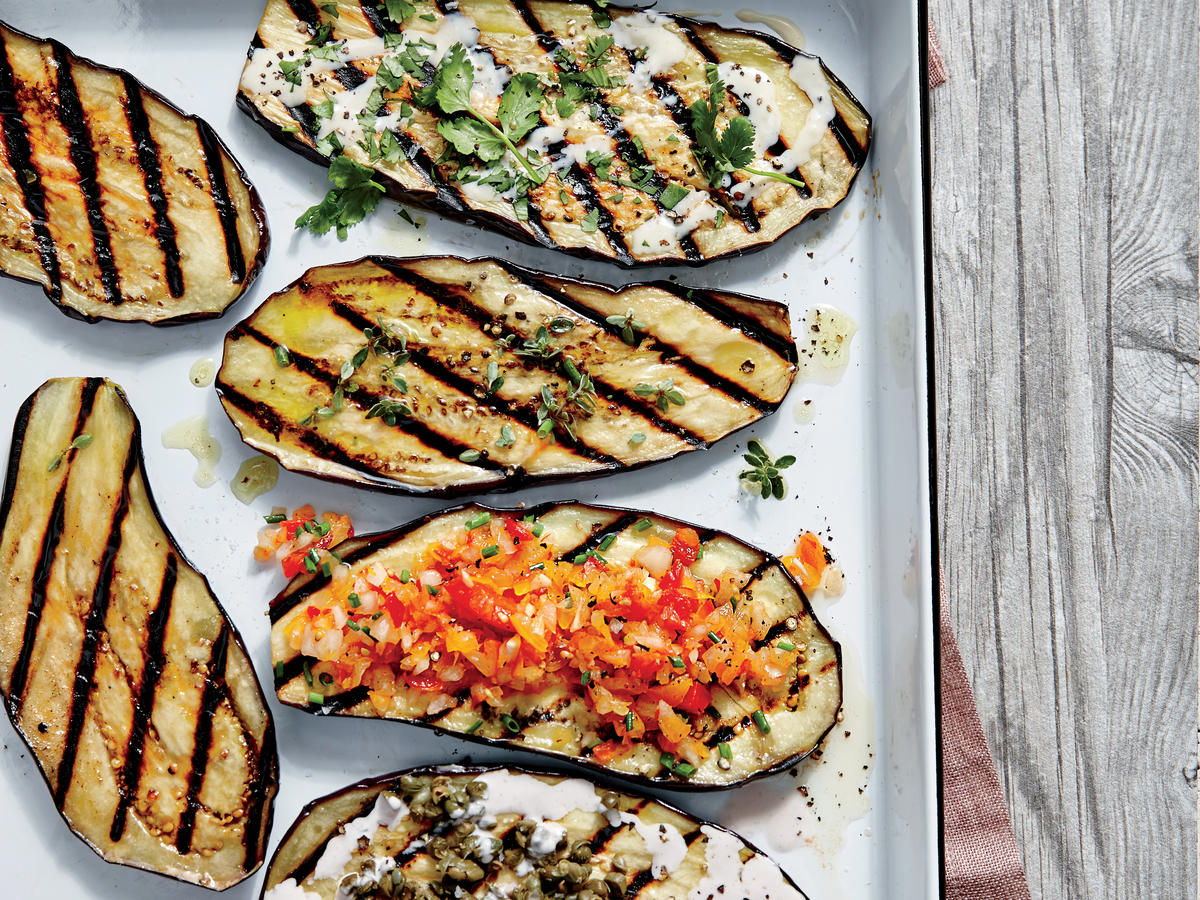 Grilled Eggplant Planks with Sherry Vinaigrette