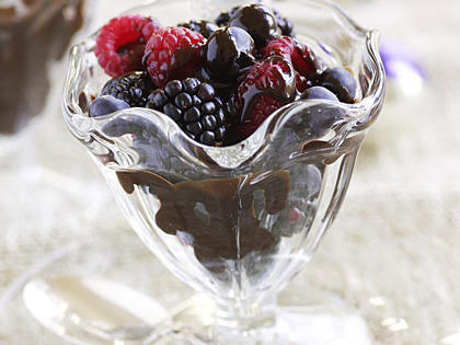 Fresh Berries with Dark Chocolate Syrup