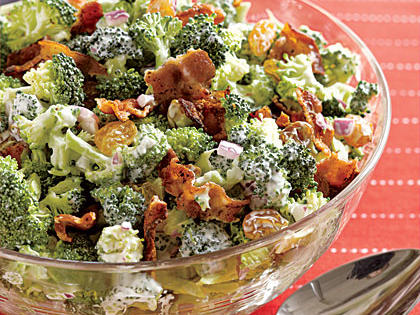 Crunchy Broccoli Slaw RecipeGolden raisins and honey add sweetness to this chopped broccoli salad, while bacon, onion and white balsamic vinegar and savory notes.