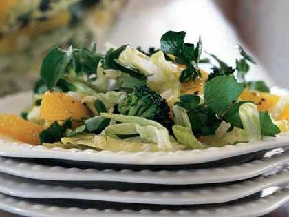 Broccoli, Orange and Watercress Salad RecipeFresh orange sections add a pleasing amount of sweetness to this broccoli and watercress side salad.