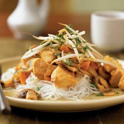 Curry paste and coconut milk spice up a simple chicken and vegetable stir-fry. Once the ingredients are prepped, the cooking goes quickly, so have everything ready before you heat the pan.Watch the VideoThai-Style Stir-Fried Chicken Recipe