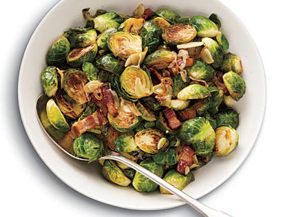 Brussels Sprouts with Bacon, Garlic, and Shallots