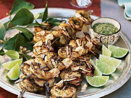 Tandoori Shrimp in Green Marinade