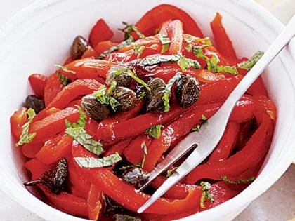 Minted Chutney-Roasted Peppers